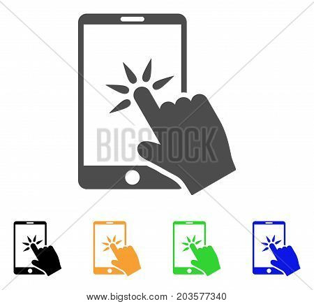 Hand Click Smartphone icon. Vector illustration style is a flat iconic hand click smartphone symbol with black, grey, green, blue, yellow color versions. Designed for web and software interfaces.