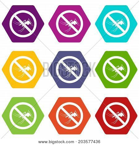 No mosquito sign icon set many color hexahedron isolated on white vector illustration