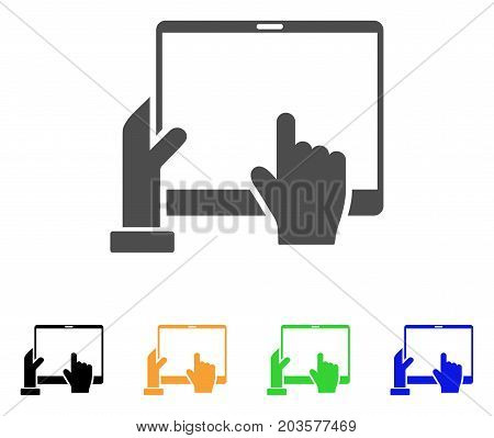Hand Points PDA icon. Vector illustration style is a flat iconic hand points pda symbol with black, grey, green, blue, yellow color variants. Designed for web and software interfaces.