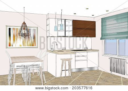 3D rendering. Modern kitchen design in light interior. Kitchen sketch. There is also a kitchen peninsula and table in the room. Kitchen and living room combined. Interior design.
