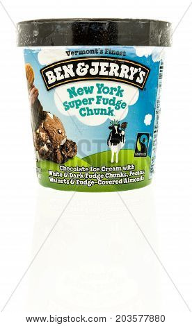 Winneconne WI - 7 September 2017: A container of Ben and Jerry's ice cream in New York super fudge chunk flavor on an isolated background.