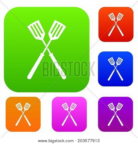 Two metal spatulas set icon color in flat style isolated on white. Collection sings vector illustration