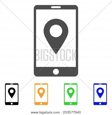 Mobile GPS icon. Vector illustration style is a flat iconic mobile gps symbol with black, gray, green, blue, yellow color variants. Designed for web and software interfaces.