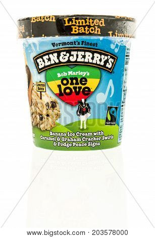 Winneconne WI - 7 September 2017: A container of Ben and Jerry's ice cream in Bob Marley's one love flavor on an isolated background.