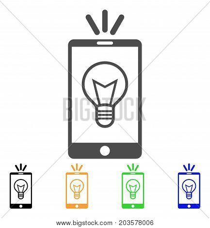 Mobile Lamp Light icon. Vector illustration style is a flat iconic mobile lamp light symbol with black, gray, green, blue, yellow color versions. Designed for web and software interfaces.