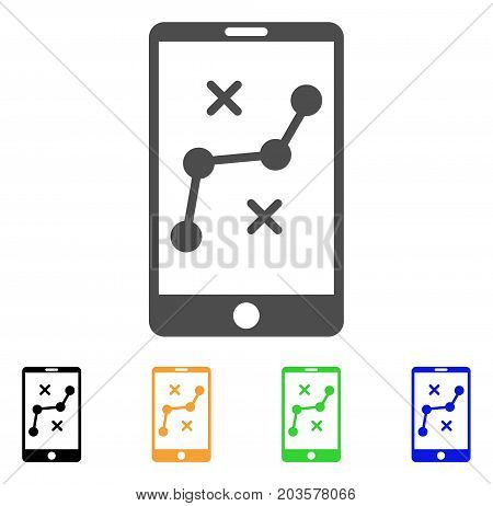 Mobile Navigation Route icon. Vector illustration style is a flat iconic mobile navigation route symbol with black, gray, green, blue, yellow color variants. Designed for web and software interfaces.