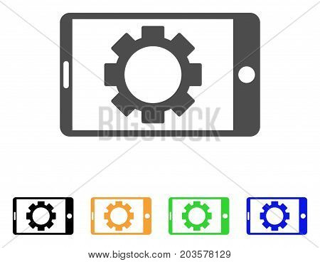 Mobile Settings Gear icon. Vector illustration style is a flat iconic mobile settings gear symbol with black, gray, green, blue, yellow color versions. Designed for web and software interfaces.