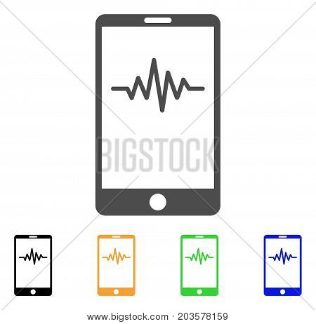 Mobile Signal Graph icon. Vector illustration style is a flat iconic mobile signal graph symbol with black, grey, green, blue, yellow color versions. Designed for web and software interfaces.