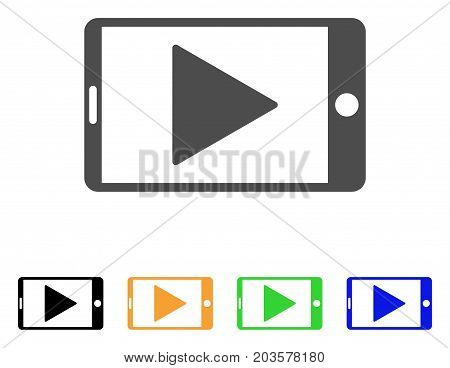 Mobile Start Play icon. Vector illustration style is a flat iconic mobile start play symbol with black, gray, green, blue, yellow color versions. Designed for web and software interfaces.