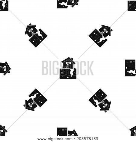 House after an earthquake pattern repeat seamless in black color for any design. Vector geometric illustration