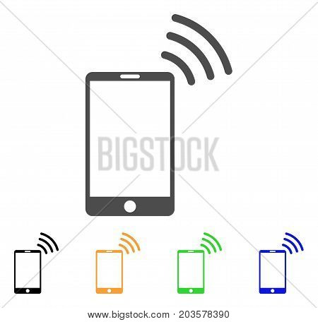 Mobile Wi-Fi Signal icon. Vector illustration style is a flat iconic mobile wi-fi signal symbol with black, gray, green, blue, yellow color versions. Designed for web and software interfaces.