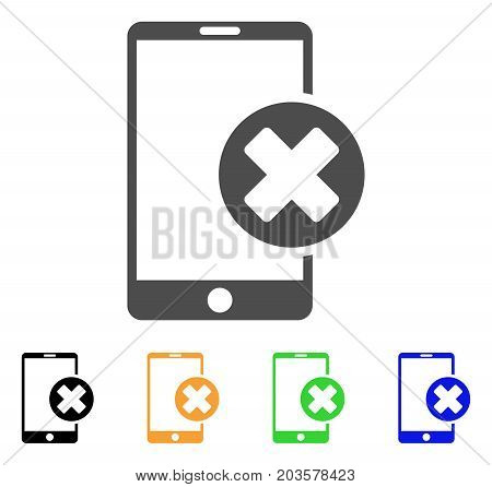 Phone Cancel icon. Vector illustration style is a flat iconic phone cancel symbol with black, grey, green, blue, yellow color versions. Designed for web and software interfaces.