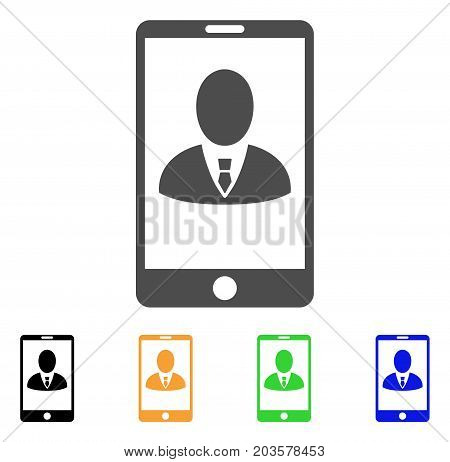Phone Customer Profile icon. Vector illustration style is a flat iconic phone customer profile symbol with black, gray, green, blue, yellow color versions. Designed for web and software interfaces.