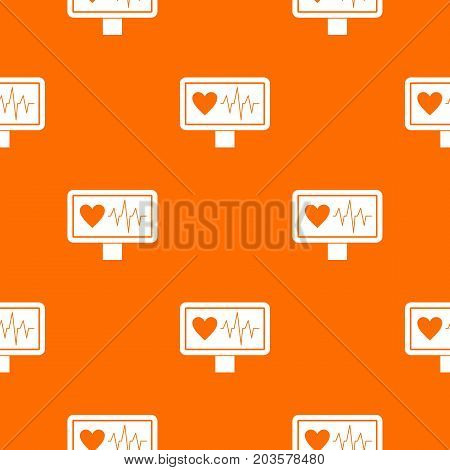 Heartbeat pattern repeat seamless in orange color for any design. Vector geometric illustration