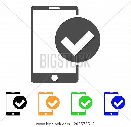 Phone Ok icon. Vector illustration style is a flat iconic phone ok symbol with black, gray, green, blue, yellow color variants. Designed for web and software interfaces.