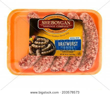 Winneconne WI - 7 September 2017: A package of Sheyboygan sausage company bratwurst on an isolated background.