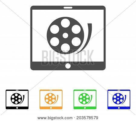 Phone Video Reel icon. Vector illustration style is a flat iconic phone video reel symbol with black, gray, green, blue, yellow color versions. Designed for web and software interfaces.