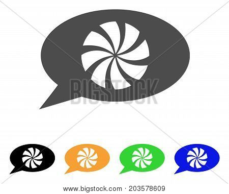 Refresh Message icon. Vector illustration style is a flat iconic refresh message symbol with black, gray, green, blue, yellow color variants. Designed for web and software interfaces.