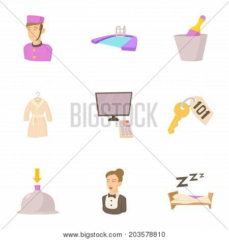 Inn icons set. Cartoon set of 9 inn vector icons for web isolated on white background