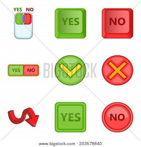 Choose answer icons set. Cartoon set of 9 choose answer vector icons for web isolated on white background