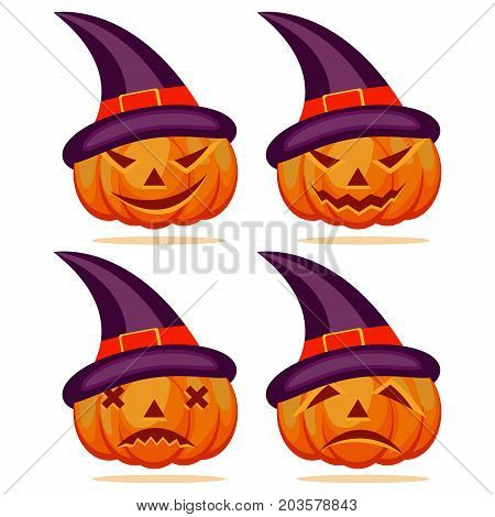 Set pumpkins for Halloween scary face orange holiday autumn symbol vector. Horror evil lantern season halloween pumpkin jack-o-lantern.