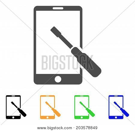 Smartphone Tuning Screwdriver icon. Vector illustration style is a flat iconic smartphone tuning screwdriver symbol with black, gray, green, blue, yellow color variants.
