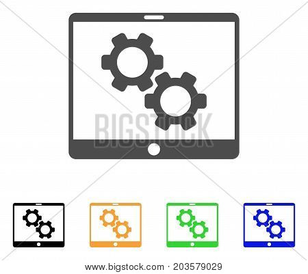 Tablet Settings Gears icon. Vector illustration style is a flat iconic tablet settings gears symbol with black, grey, green, blue, yellow color versions. Designed for web and software interfaces.