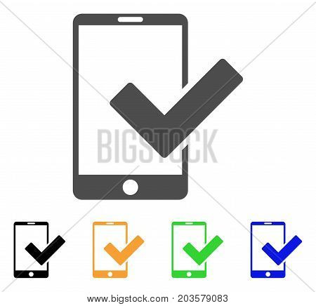 Valid Smartphone icon. Vector illustration style is a flat iconic valid smartphone symbol with black, grey, green, blue, yellow color versions. Designed for web and software interfaces.