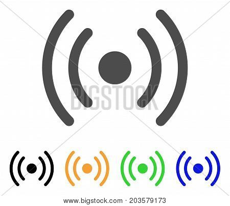 Wi-Fi Source icon. Vector illustration style is a flat iconic wi-fi source symbol with black, gray, green, blue, yellow color versions. Designed for web and software interfaces.