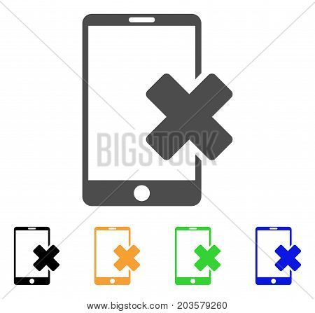 Wrong Smartphone icon. Vector illustration style is a flat iconic wrong smartphone symbol with black, grey, green, blue, yellow color variants. Designed for web and software interfaces.