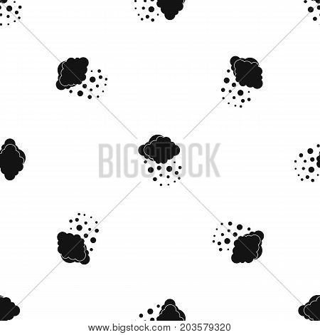 Cloud with hail pattern repeat seamless in black color for any design. Vector geometric illustration