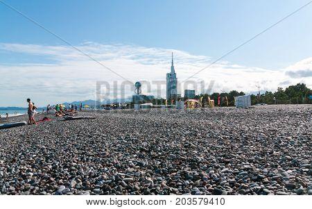 BATUMI GEORGIA - September 1 2017: View from the beach on Batumi. Batumi is a very popular destination on Black Sea