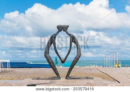 BATUMI GEORGIA - September 1 2017: First Love sculpture on Batumi boulevard. Batumi is a very popular destination on Black Sea