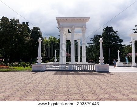 BATUMI GEORGIA - September 1 2017: Batumi colonnades. Entry to the famous boulevard. Batumi is a very popular destination on Black Sea