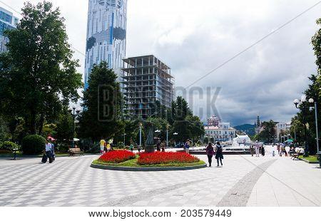 BATUMI GEORGIA - September 1 2017: People on the Batumi boulevard. Batumi is a very popular destination on Black Sea