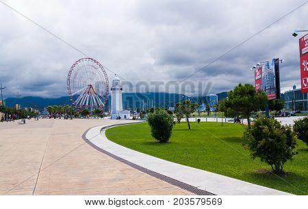 BATUMI GEORGIA - September 1 2017: Miracle Park in Batumi. Batumi is a very popular destination on Black Sea