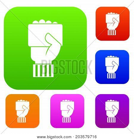 Hand of soccer referee showing card set icon color in flat style isolated on white. Collection sings vector illustration