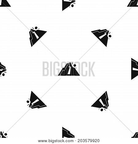 Rockfall pattern repeat seamless in black color for any design. Vector geometric illustration