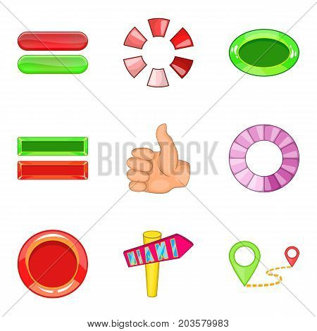 Roll up icons set. Cartoon set of 9 roll up vector icons for web isolated on white background
