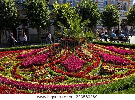 KISLOVODSK,RUSSIA - SEPTEMBER 09; 2017:A large beautiful flowerbed in the resort park and one of the attractions of the city of Kislovodsk, one of the largest resorts in Russia.