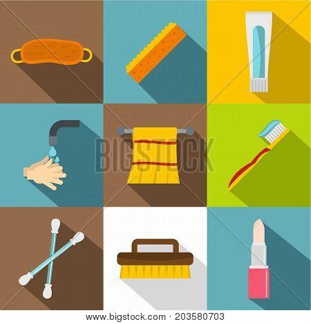 Bathroom equipment icon set. Flat style set of 9 bathroom equipment vector icons for web design