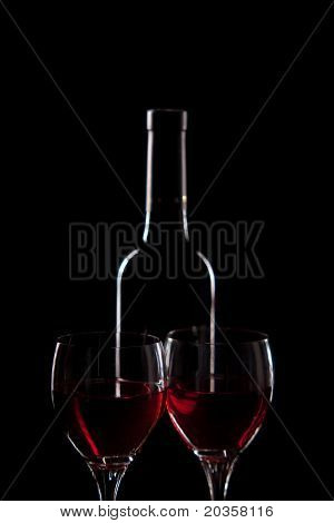 red wine - bottle and glasses