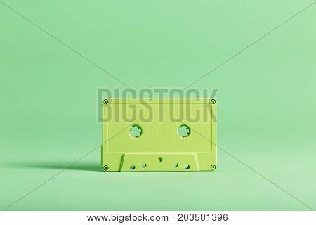 Retro cassette tape a on bright background