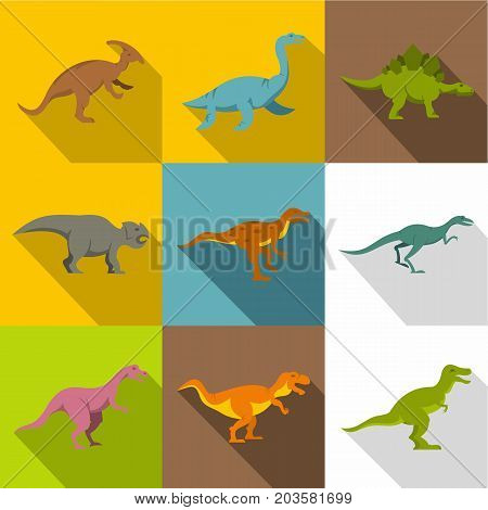 Different dinosaurs icon set. Flat style set of 9 different dinosaurs vector icons for web design