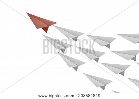 Leadership concept with red paper plane leading white airplanes.