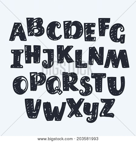 Vector cartoon funny bold outline hand drawn by black marker latin ABC. English capital typeface in one color