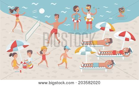 Vector cartoon funny illustration of scene of people relax on the beach. Scene vacation on seacoast. Children and adults: sport, voleyball, swimming and take sunbath, playing in the sand and diving