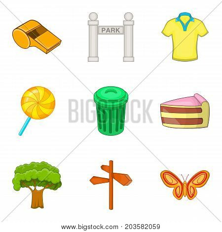 Outdoor park recreation icon set. Cartoon set of 9 outdoor park recreation vector icons for web design isolated on white background