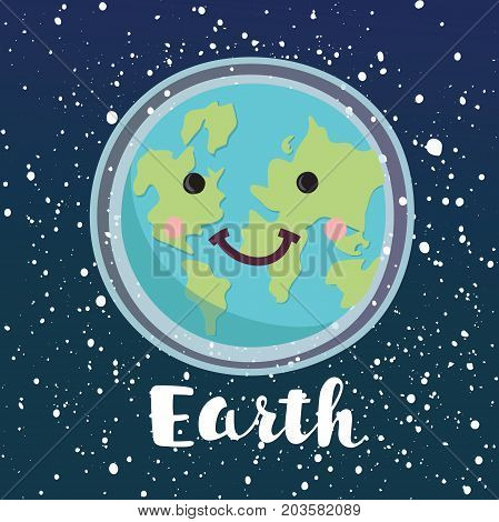 Vector cartoon illustration of smiling happy planet character on space cosmic shiny stars background. World Peace. Happy Earth Day. Hand drawn lettering name