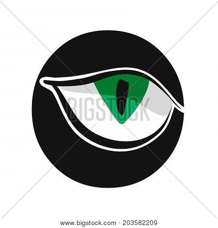 green staring cat eye symbol vector illustration